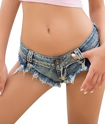 Women's Sexy Hot Pants Low Rise Cheeky Bikini Bottoms Mini Denim Thong Shorts Clubwear (Denim,M)