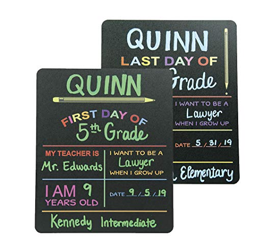 (Custom Product Solutions Reusable First & Last Day of School Chalkboard Sign. Photo Prop Board, Black w/color print - 12
