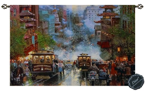 Beautiful San Francisco Powell By Kinkade Fine Tapestry Jacquard Woven Wall Hanging Art - San Francisco Powell