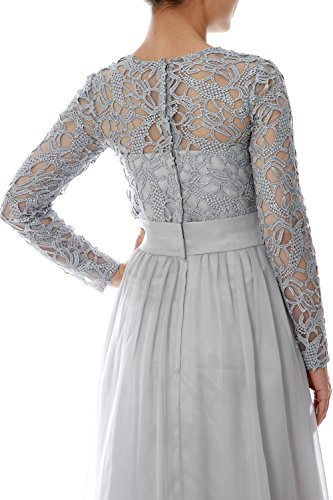 MACloth Women Long Sleeve Lace Chiffon Mother of Bride Dress Formal Evening Gown Teal