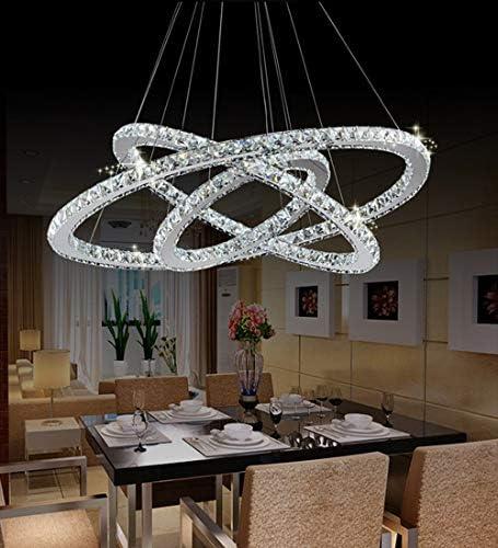 RANZIX Kristall LED Ring Dimmbar Decken Pendelleuchte Kronleuchter Kristall Wohnzimmer stall Design Hängelampe Deckenlampe (72)