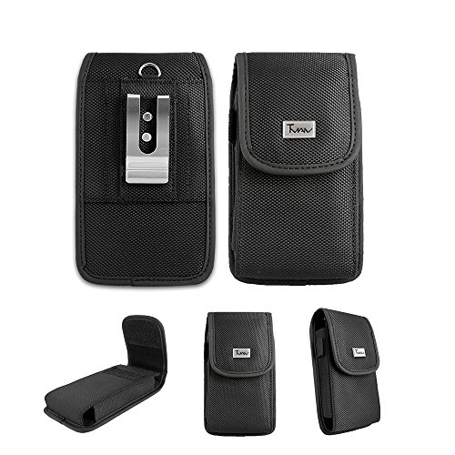 for LG Stylo 4 Pouch Case, LG Stylo 4 Case, TMAN Heavy Duty Rugged Canvases Vertical Smart Phone Case/Pouch/Holster w Metal Belt Clip for LG Stylo 4 (XL Size Fit)