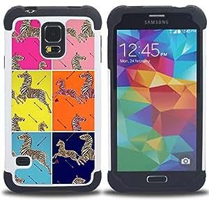 "Hypernova Híbrido Heavy Duty armadura cubierta silicona prueba golpes Funda caso resistente Para SAMSUNG Galaxy S5 V / i9600 / SM-G900 [Elegantes cuadrados patrón Animales""]"