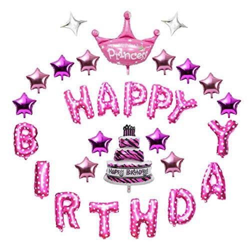 READY 2 PARTY | Paquete de Globos de Cumpleaños Rosas de 29 Piezas | Kit / Set de Globos metálicos Happy Birthday para...