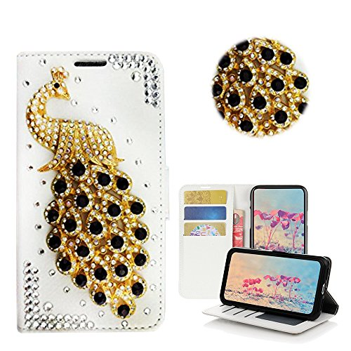STENES Galaxy S9 Case – STYLISH – 3D Handmade Bling Crystal Design Wallet Credit Card Slots Fold Media Stand Leather Cover Case for Samsung Galaxy S9 – 3