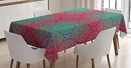 Ambesonne Psychedelic Tablecloth, Bohemian Paisley Pattern Ethnic Asian Royal Colors Ombre Print Oriental Floral, Dining Room Kitchen Rectangular Table Cover, 60 W X 84 L Inches, Pink Teal