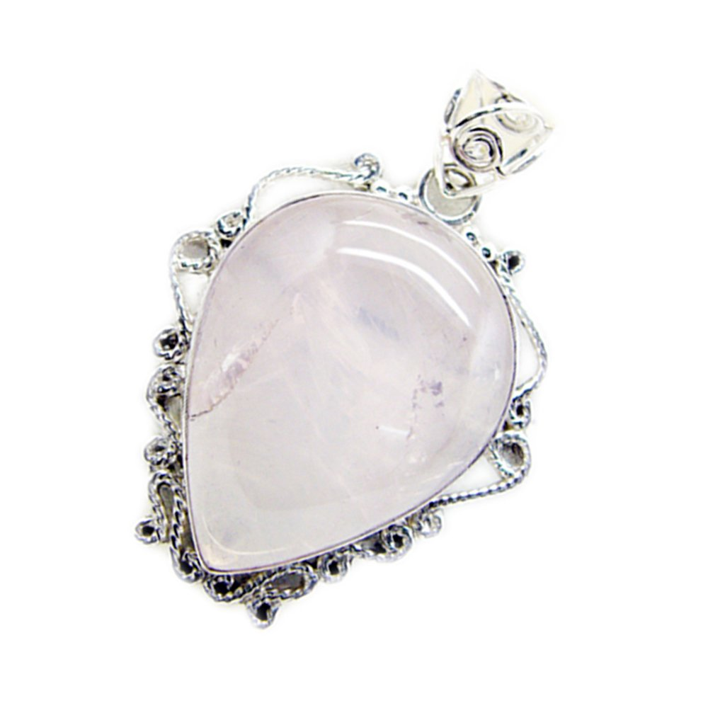 CaratYogi Natural Rose Quartz Pendant Silver Pear Shape Vintage for Women Charms Chakra Healing Necklace