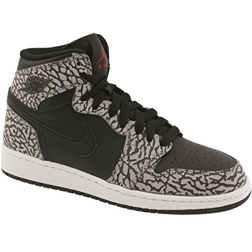Jordan Big Kids Air Jordan 1 Retro High BG (black / cement grey / anthracite / gym red) Size 4 US (Cement Retro 4)
