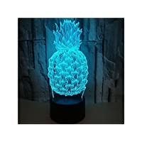 Huasen Table Lamp Pineapple 3D Optical Illusion Decorative Night Light 7 Color Changing Touch Table Desk Lamp USB Powered Lamp Bedroom Decorative Creative Light