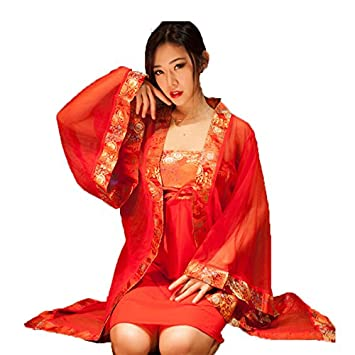 b66d2bd9689b Lingerie For Women Sexy Tang Suit Chinese Style Sexy Nightwear Underwear Set  Red Silk Gown Fashion Robe Overshirt Blouse Dress: Amazon.co.uk: Sports &  ...