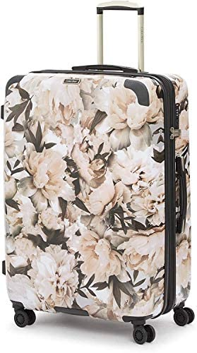Floral//Blanc 28 Pouces Valise Spinner avec Serrure TSA