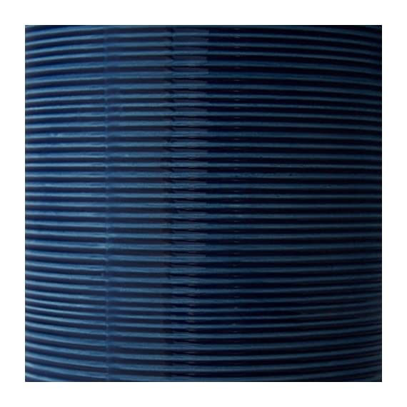 """Stone & Beam Leland Modern Textured Table Lamp With Bulb, 24.5""""H, Blue - This lamp's beautiful blue ceramic base will give your room a modern look and pop of vibrant color.  Subtle horizontal lines add a pleasing texture, and a white linen shade adds a classic touch, for an overall look that blends with most any décor. 15"""" Diameter x 24.5""""H Ceramic base, linen shade, metal hardware - lamps, bedroom-decor, bedroom - 516Fz0a5V8L. SS570  -"""