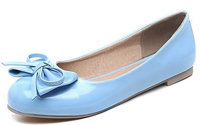 Damen Süß Schleife Patent Flach Geschlossen Ballerinas Schuhe Grau 47 EU Easemax WPn46XQ
