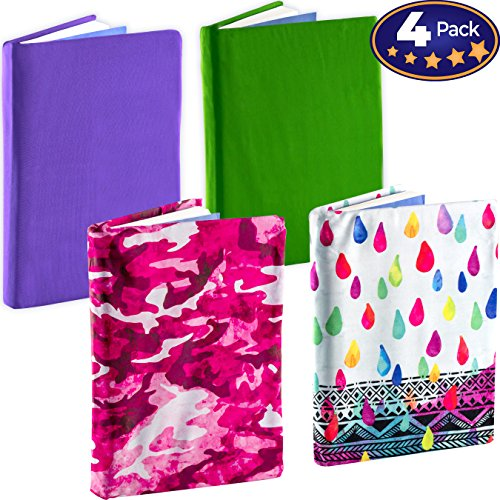 Jumbo, Stretchable Book Cover Color 4 Pack. Fits Most Hardcover Textbooks up to 9 x 11. Adhesive-Free, Nylon Fabric Protectors are A Needed School Supply for Students. (Bright 2) ()