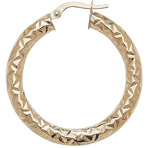 Or 9ct Coupe Diamant Boucles d'oreilles créoles 25mm