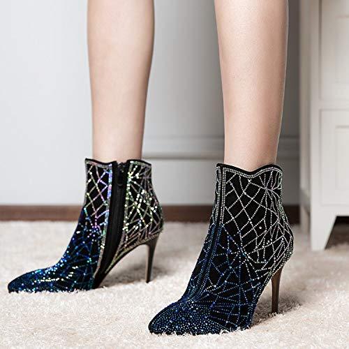 Stiletto Stivaletti Boots Black Li Stivali Point Strass Sposa Womens Party Inverno Sparkle Pelle Da Appuntito In Alto Dress Miss Tacco Maglione Sexy wRqqO