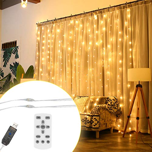 - ♛Euone Home ♛Clearance♛, Window Curtain Lamp String Fairy Lights Wedding Party Decor 3x3m 300LED