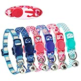 Didog 6Pcs Fresh Color Cat Collars with Bell - Breakaway Soft Adjustable Nylon Cat Collars with Safty Buckle - Fit Kitten - Small Dogs
