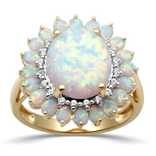 Jewelili 18K Yellow Gold Plated Sterling Silver 12 X 10 mm Oval Created Opal with Created White Sapphire Blooming Ring, Size (18k White Gold Plated Sapphire)