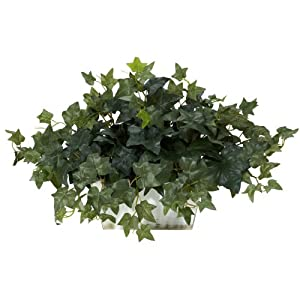 Nearly Natural 6715 Ivy with White Wash Decorative Silk Plant, Green 87