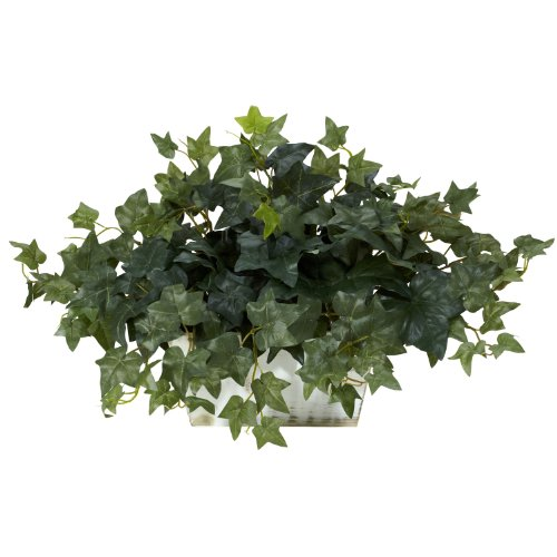 Nearly Natural 6715 Ivy with White Wash Decorative Silk Plant, Green