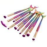 LHEI New 10 Pcs Mermaid Makeup Brush Set Professional Eye Makeup Brushes For Eyeshadow Concealer Eyeliner Brow Blending Brush Tool