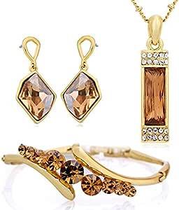 مجموعة مجوهرات نيوجلوري من الخرز المطلي بالذهب عيار 14 قيراط من سواروفسكي ايليمينتس مصنوعة من احجار كريستال سواروفسكي