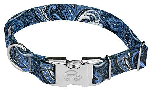 Country Brook Petz - Blue Paisley Premium Dog Collar (Medium)