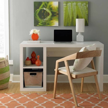 Better Homes and Gardens BH16-084-599-04 Cube Organizer Home Office Desk Made of Medium-Density Fibreboard Wood with Built-in Cable Door on Desktop, White Color from Better Homes & Gardens