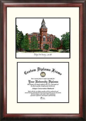 Michigan University Framed Lithograph - Michigan State University: Linton Hall Scholar Framed Lithograph with Diploma