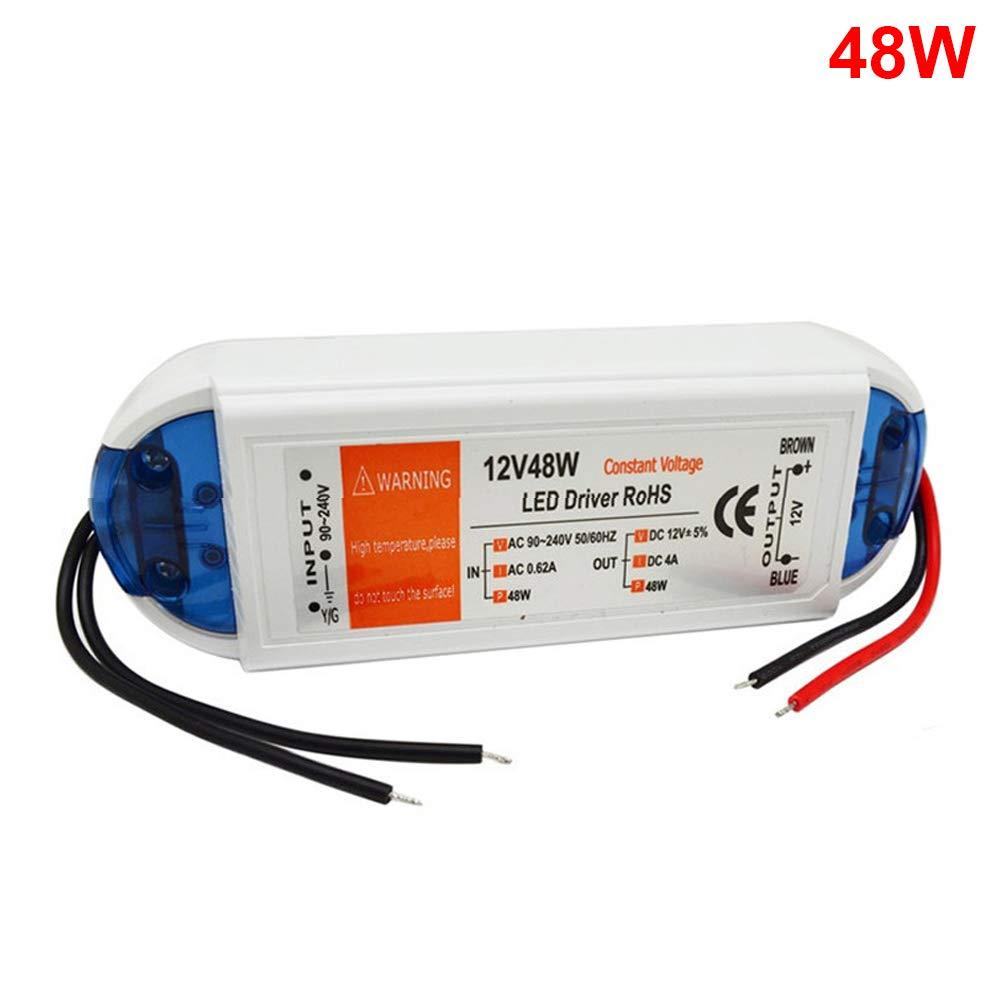 hgfter Adattatore di alimentazione trasformatore driver LED AC90-240V a DC12V Tensione costante per striscia luminosa a LED 48W