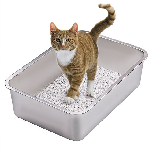 Stainless Steel Litter Boxes (Stainless Steel Cat Litter Box for Cats and Rabbit - Odor Control, Non Stick, Never Bend, Easy to Clean - This Will Be Your Last Cat Litter Box - By Yangbaga)