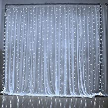 WONFAST Safe Curtain Lights 304 LED Curtain Lights, 9.8ft Waterproof Window Icicle Fairy String Lights for Wedding Christmas Outdoor Party Home Kitchen Curtains Window Decorations(9.8ft*9.8ft) (White)
