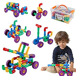 ZoZoplay STEM Learning Toy Tubular Pipes & Spouts & Joints 64 Piece Build Bicycle, Tank, Scootie, Moter Skills Endless Designs Educational Building Blocks Set for Kid Ages 3+ Multicolor