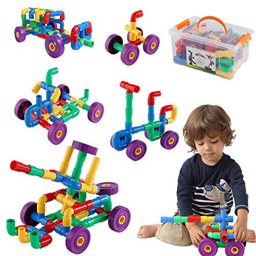 ZoZoplay STEM Learning Toy Tubular Pipes & Spouts & Joints 96 Piece Build Bicycle, Tank, Scootie, Moter Skills Endless Designs Educational Building Blocks Set for Kid Ages 3+ Multicolor