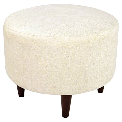 Contemporary Round Ottoman (MJL Furniture Designs Sophia Collection Atlas Series Contemporary Round Ottoman, Bone White/Wooden Legs)