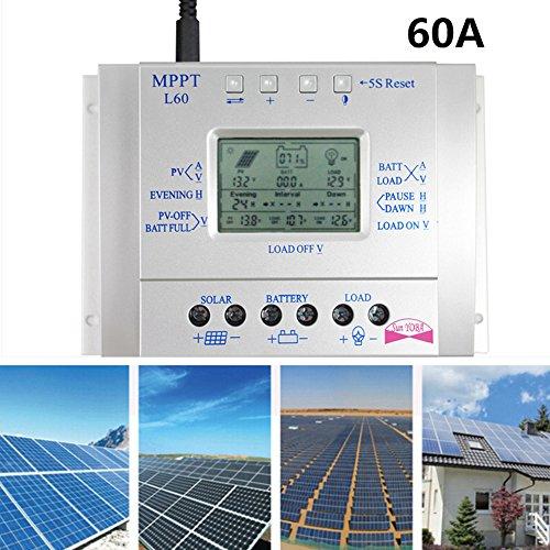 elegantstunning MPPT Solar Water Heater Controller Solar Charge Controller LCD Display Solar Regulator,12V 24V 60A