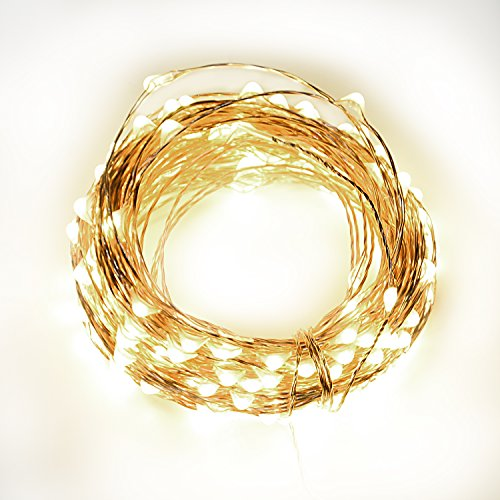 33' Fireplace (Christmas Decor 33ft 100 Bright LED String Lights, Copper Wire Lights, with Wireless RF Remote Control, Waterproof Decorative Lights for Bedroom Party Patio Dancing Wedding (Warm White))