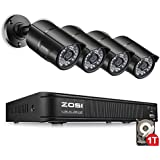 ZOSI 8-Channel HD-TVI 720P Security Camera System,Surveillance DVR Recorder with 1TB Hard Drive and (4) 1.0MP 1280TVL Indoor/Outdoor Day/Night CCTV Bullet Camera