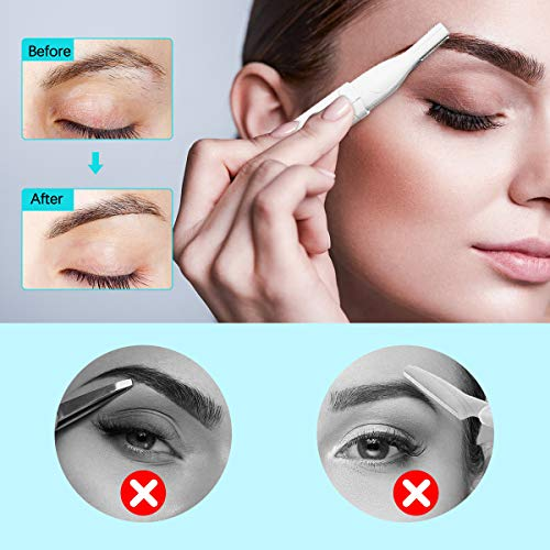 Eyebrow Trimmer, Electric Eyebrow Razor for Women, Liaboe Upgraded Eyebrow Hair Removal with Comb Eyebrow Epilator No Pulling Sensation Painless for Face Chin Lips Neck Bikini-line Armpit
