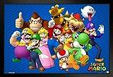 Pyramid America Super Mario Bros Nintendo Video Game Group Characters Mario Luigi Framed Poster 20x14 inch