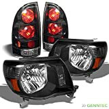 For 2005-2011 Toyota Tacoma Black Headlights + Tail Lights Lamp Head Lights Set L+R 2006 2007 2008 2009 2010