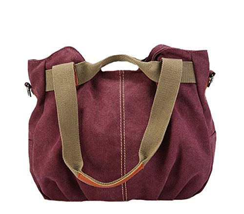Large Canvas Women Hobo Vintage Chikencall Bags Messenger Casual Shoulder Burgundy Bag Handbags Big Tote Sxp5qwU