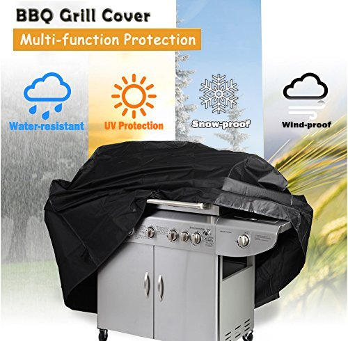 Gas Grill Cover, Heavy Duty 600D Waterproof BBQ Rain Cover, Garden Patio Outdoor Protection Barbecue Cover for Weber, Brinkmann, Char Broil, Holland and Jenn Air