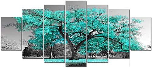 Visual Art Decor XLarge 7 Pieces Canvas Wall Art Teal Green Tree Landscape Black and White Picture Prints Framed and Stretched Painting Wall Decoration