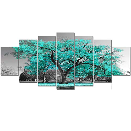 Visual Art Decor XLarge 7 Pieces Canvas Wall Art Teal Green Tree Landscape Black and White Picture Prints Framed and Stretched Painting Wall Decoration for Modern Living Room Office (7 Piece Living Room)