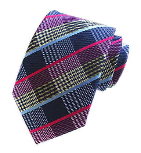 - Men's Navy Rose Red Yellow White Casual Preppy Stylish Tie Silk Geometric Checks Necktie Presents Ideal
