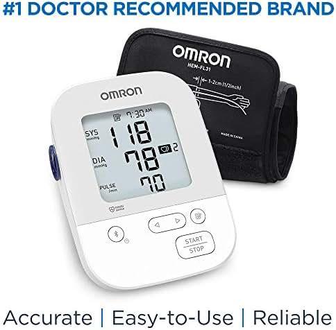 Omron Silver Blood Pressure Monitor, Upper Arm Cuff, Digital Bluetooth Blood Pressure Machine, Storesup To 80 Readings