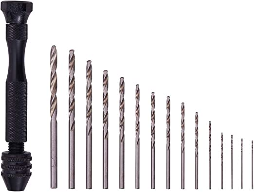 Micro Drill Bit Set with Pin Vise Hand Drill 100 pc