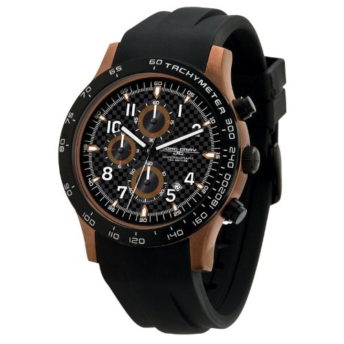 Jorg Gray JG2000-11 Chronograph Black Dial Bronze Finish Black Rubber Strap Men's Watch